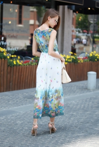 Váy liền YT205 : Váy maxi voan bướm xếp ly